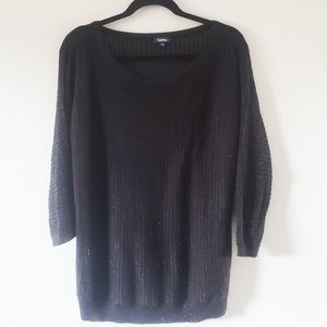 Women's Black Sparkly Knit Pullover Sweater